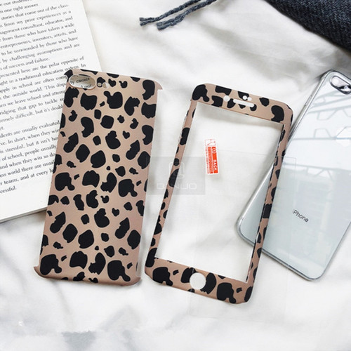 QINUO Leopard Print Phone Case For iPhone 6 7 8 Plus X XR XS Max 360 Degree Full Protection Cool Cover For iPhone 5 5S SE 6 6S