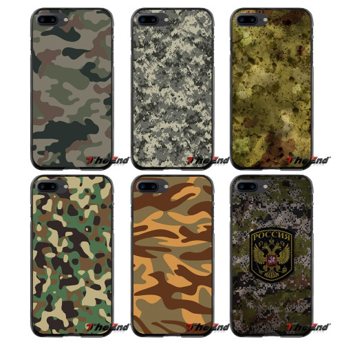 Army Green Camouflage Case For iPhone X For iPhone 6 6S 7 8 Plus Soft TPU Silicon Phone Cases Leopard print For iPhone XS MAX XR
