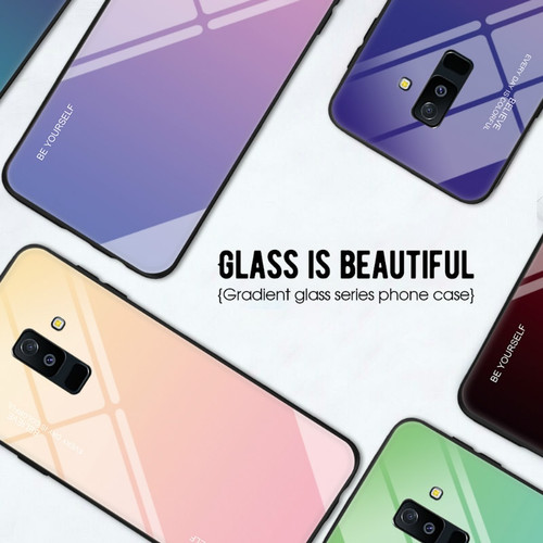 For Samsung Galaxy A5 A7 2017 J4 J6 Plus 2018 Gradient Phone Case For Samsung A6 A8 Plus J8 A7 2018 Tempered Glass Cover Capa