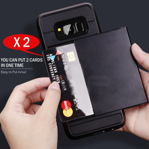 ZNP Armor Slide Card Holder Phone Case For Samsung Galaxy S9 S8 Plus S7 S6 Edge Full Cover For Samsung Note 9 8 A3 A5 A7 Cases
