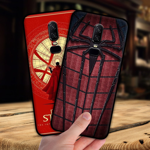 mosirui for One plus 6 case Marvel hero Deadpool Spiderman Black Panther Hulk Silicone soft shell black Matte Phone Case