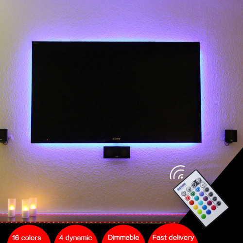 "BASON USB Powered RGB LED TV / Monitor Backlighting LED mood Light for 32' 40' 43"" 48"" 50"" 55"" 60"" TV with IR Remote Controller"