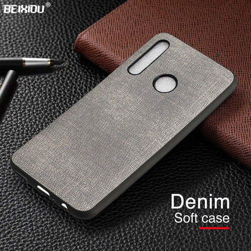 Denim Leather Canvas Case For Huawei P Smart Plus 2019 Phone Cover Business Cloth Soft Back Cover for Honor 20 lite Honor 10i