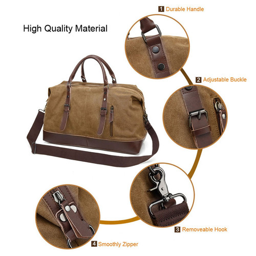 Canvas Leather Men Travel Bag Carry on Luggage Duffel Bags Large Travel Tote Patchwork Weekend Crossbody Bag Overnight XA38WC