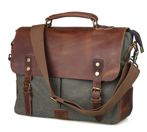 Vintage casual men's portable briefcase canvas postman bag Messenger bag with crazy horse leather 14 Inch Laptop Crossbody Bag