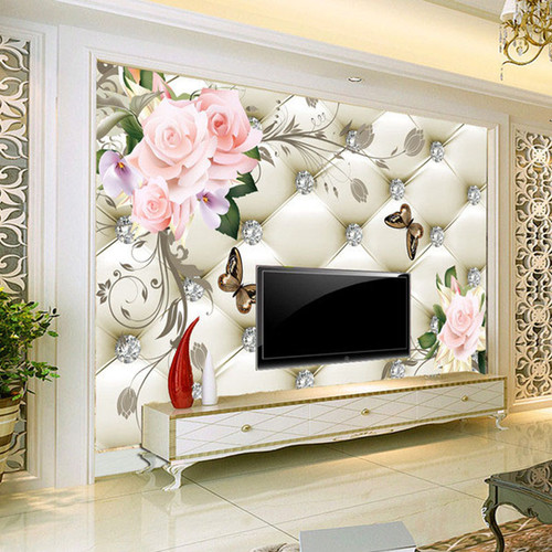 Custom 3D Mural Wallpaper European Style Rose Flower Pattern Diamonds Wall Painting Living Room TV Background Leather Wallpaper