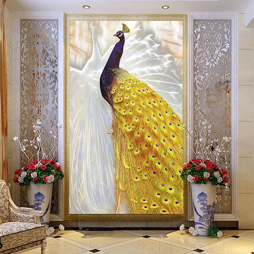 Custom Photo Wallpaper European Style Gold Peacock Mural Chinese Style Living Room Entrance Corridor Home Decor 3D Wall Painting