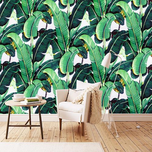 European Style Retro Tropical Rain Forest Plant Banana Leaf Photo Wallpaper Pastoral Mural Background Wall Mural Bedroom Fresco