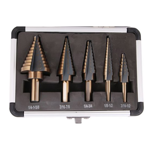 5pcs/set High Speed Steel with Cobalt Step Core Drill Bits HSS Power Tools Auto Wood Metal Drilling + Aluminum Case