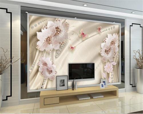 Beibehang Deluxe European Living Room Bedroom Bedside Backdrop 3D Wallpaper Luxury Diamond Flower 3d Jewelry Photo Wallpaper