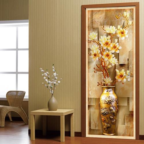 European Style 3D Embossed Flower Vase Photo Wall Mural Door Sticker Wallpaper Living Room Study Background Wall Covering Murals