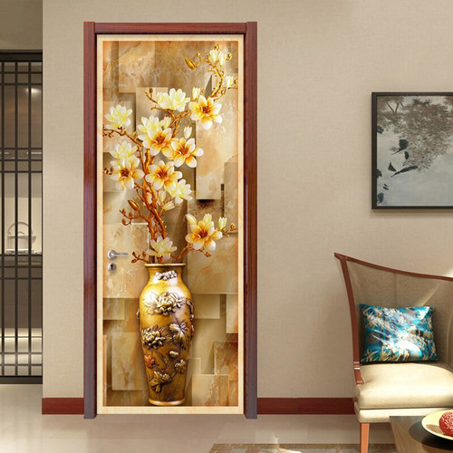 European Style 3D Embossed Flower Vase Photo Wall Mural Door Sticker Wallpaper Living Room Study Background Wall Covering Murals