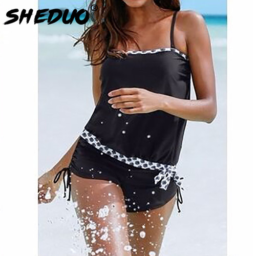 One-piece 2017 Swimwear New Conservative Bathing Suit Narrow Strap Dots Bordered Swimsuit Loose Style Black Push Up Women