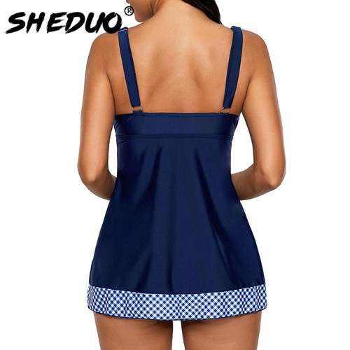 Plus Size Tankini For Women Swimwear Plaid Sexy Bikini Bathing Suit Beach Wear Swimsuit Bow Tied Deep V Bodysuit