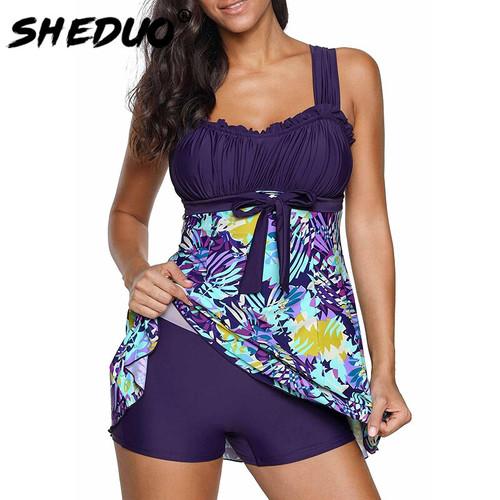 Plus Size Swimwear 2018 Women Sexy Ruffle Swimsuit Floral Print Tankini Padded Bathing Suit Dress Bikini Set Beachwear 5XL