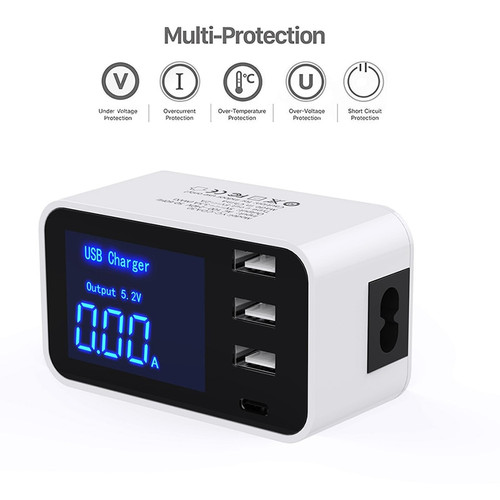 Smart Quick Charge Type C USB Charger HUB LCD Display Smart Charger Travel Mobile Phone Fast Charger For iPhone Samsung Adapter