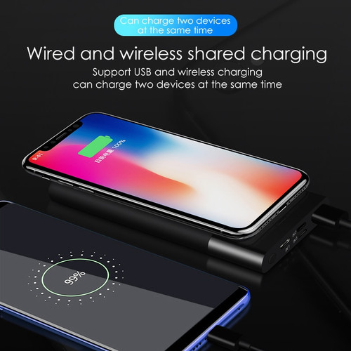 VVKing 10000mAh Power Bank Qi Wireless USB Charger For iPhone Samsung Xiaomi Huawei LCD Portable External  Battery Pack Charger