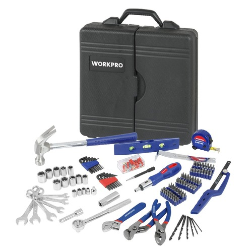 WORKPRO 201PC Mechanic Tool Set Daily Use Tools Sockets Screwdrivers Pliers Wrenches Measure tape Mini Saw Home Tool Kits