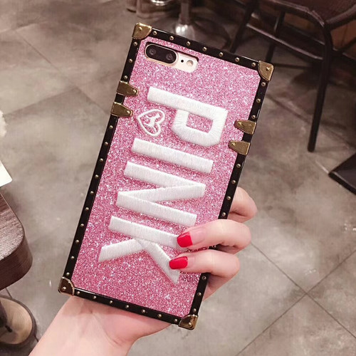 wholesale Luxury Embroidery 3D Pink Letter Case for Samsung Galaxy S10 S8 S9 plus Note9 Glitter Metal Square Cover Shell + Strap