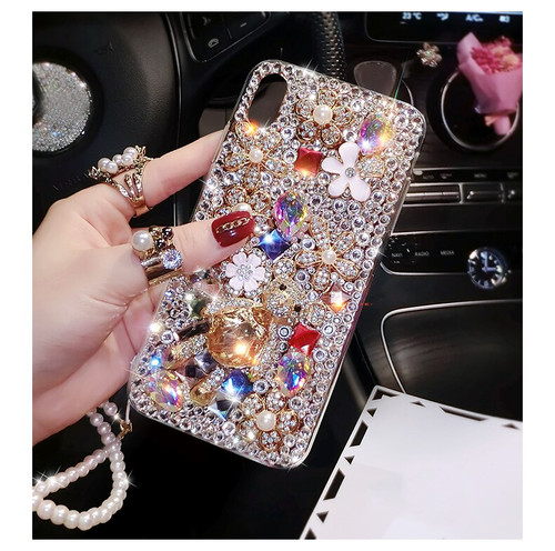 Luxury Shiny Diamond Bear Phone Case For Samsung galaxy S10 Lite S10E S9 S8 Plus S7 S6 edge plus Flowers Pearl Strap Cover Cases