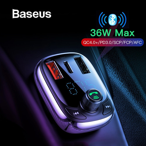Baseus Quick Charge 4.0 Car Charger for Phone FM Transmitter Bluetooth Car Kit Audio MP3 Player Fast Dual USB Car Phone Charger
