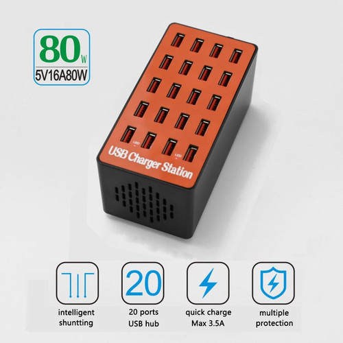 80W Smart USB Charger 20 Ports USB Hub Quicky Charge 3.0 Station Power Adapter Universal for iPhone iPad Samsung Huawei xiaomi