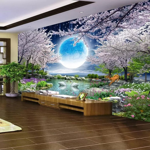 Custom Mural Wall Paper Moon Cherry Blossom Tree Nature Landscape Wall Painting Living Room Bedroom Photo Wallpaper Home Deco