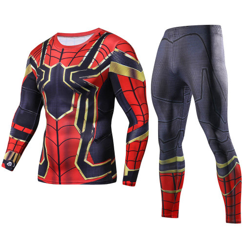 Movie Avengers 3 Infinity War Iron Spider-Man Cosplay Long T-Shirts Sets Superhero 3D Compression Tee Shirts Tops suits