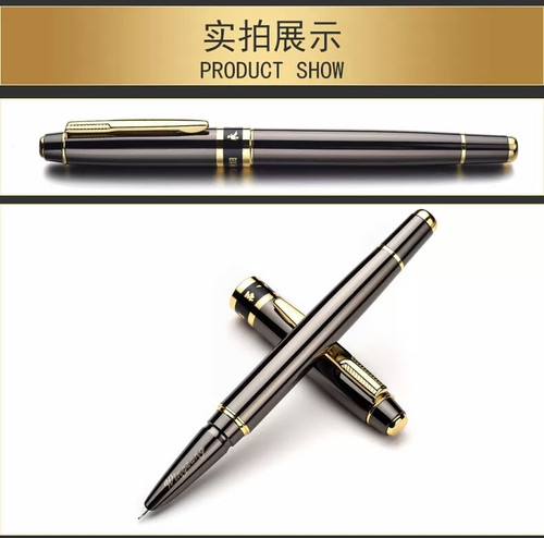 High quality wingsung Light black metal Fountain Pen school Office stationery calligraphy 0.38mm nib ink Pens gift