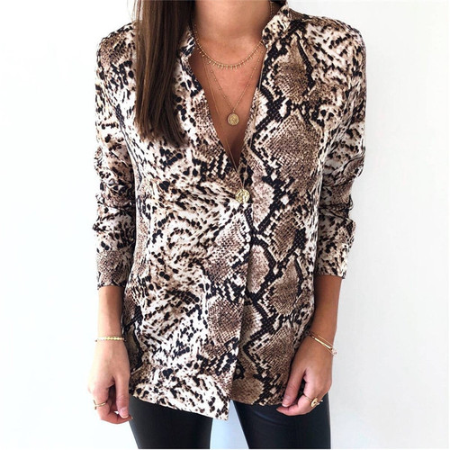 2018 Autumn New Women Snake Print Blouse Long Sleeves V neck Snakeskin Shirts High Street Women Fall Fashion Tops Blouses