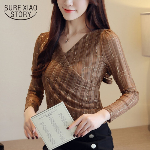Fashion women blouse 2018 sexy V collar new style long sleeve autumn womens tops and blouses lace patchwork clothes 1430 45
