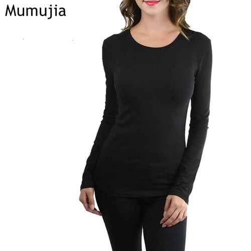 Women's Long Sleeve O-Neck Thermal Top Tees2019 New Autumn Basic Solid Color Woman Blouses Shirts Casual Fashion Clothing Tops