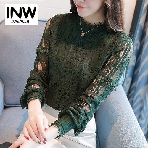 2019 New Arrival Women Tops Fashion Green Lace Blouse Autumn Long Sleeve Plus Size Shirts Hollow Out Renda Blusas Femininas
