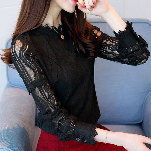 2019 New Arrival Women Tops Fashion Green Lace Blouse Autumn Long Sleeve Plus Size Shirts Hollow Out Renda Blusas Femininas