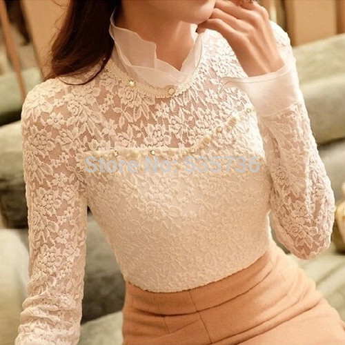 2018 New Ruffled Collar Long Sleeve Blouses Shirts with Beaded Plus Size Lace Women Blouse Women Clothing Blusas Femininas 59A0