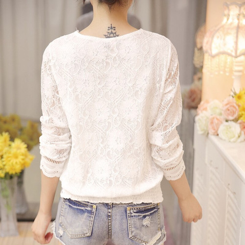 2018 new fashion autumn fashion women blouse long sleeved lace women top lace bottoming blouses causal slim fit blusa 0943 40
