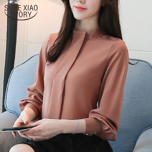 New 2018 Long Sleeve Women Blouses shirt Fashion Casual Chiffon OL blouse women's clothing stand neck women Tops blusas D456 30