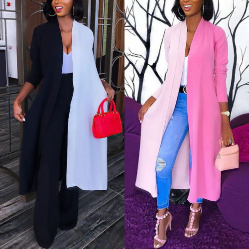Fashion Women Contrast Color Cardigan Blouse 2018 New Long Sleeve Cardigan Loose Summer Kimono Shawl Tops Blouse Coat S-XL