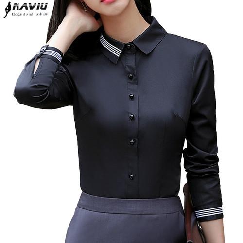 Fashion women clothes cotton long sleeve shirt 2018 New autumn black slim blouse office ladies business plus size formal tops