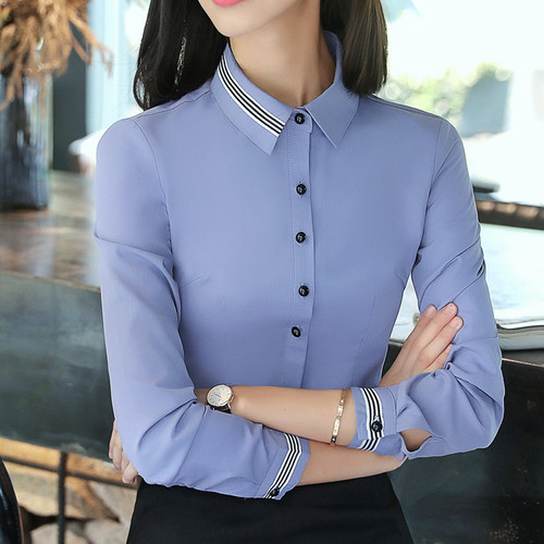 Fashion women clothes cotton long sleeve shirt 2018 New autumn black slim blouse office ladies business plus size formal tops