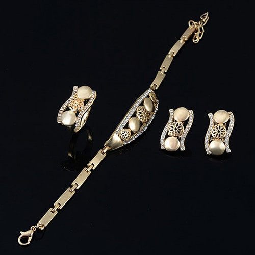 indian wedding Women's Bridal Gift Flower Round Drop Collar Necklace Bracelet Ring Earrings jewelry set