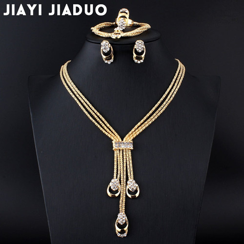 jiayijiaduo New fashion Women Vintage Gold-color Bridal Rhinestone nigerian wedding african beads jewelry set