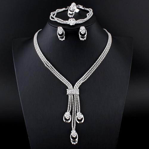 jiayijiaduo New fashion Women Vintage Gold-color Bridal Rhinestone nigerian wedding african beads jewelry set
