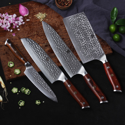 FANGZUO Japanese Damascus Steel Cooking Knife Set Stainless steel handle Chef Santoku Cleaver Utility Knives Kitchen Knife Sets