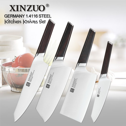 XINZUO 4 PCS Kitchen Knife Set Stainless Steel German 1.4116 Steel High Quality Chef Santoku Nakiri Boning Knives Ebony Handle