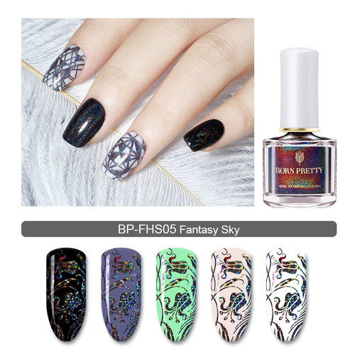 BORN PRETTY Holographic Nail Stamping Polish 6ml Holo Image Transfer Varnish Silver Laser Manicure Nail Art Varnish for Plate