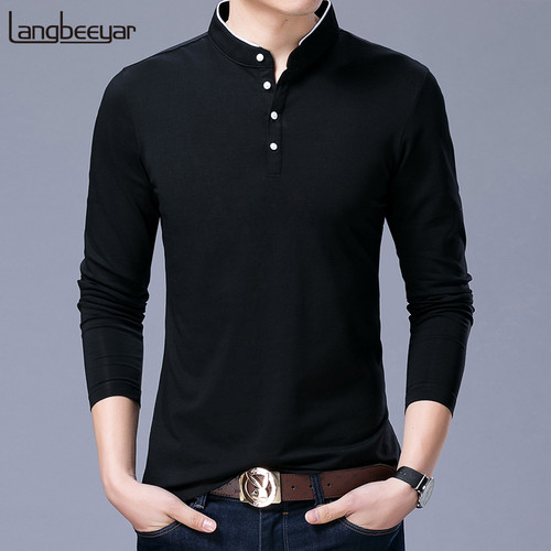 Hot Sell 2019 New Fashion Brand Clothing Polo Shirt Mens Mandarin Collar Long Sleeve Slim Fit Boys Polos Casual Men's Clothing