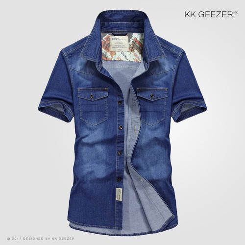 Cowboy Pockets Cotton Casual Shirts Men Spring Short Sleeve Dress Shirts Summer Fashion Sweat Multi-pocket Denim Blue