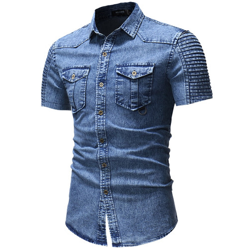 Denim Shirt Men Fashion short Sleeves Shirt Casual Slim Fit Denim Tops Streetwear High Quality Pure color short-sleeve shirt