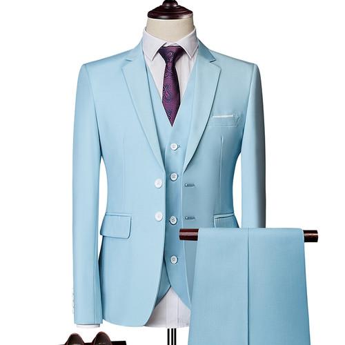 men suit fashion Pure color Slim suit men business casual suit grooms 3 piece suit Blazers (coat+pants+vest)large size S-6XL
